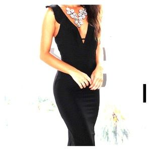 Black V-Neck Maxi Dress with Ruffle Detail